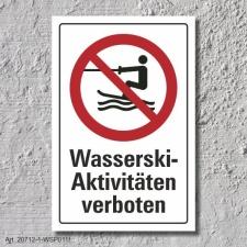 """Verbotsschild """"Wasserskiaktivitäten..."""