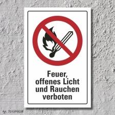 """Verbotsschild """"Feuer, Licht verboten"""", DIN ISO..."""