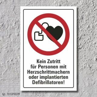 """Verbotsschild """"Herzschrittmacher verboten"""", DIN ISO 7010, 3 mm Alu-Verbund"""