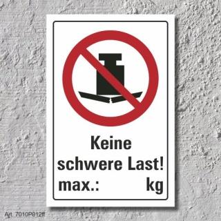 """Verbotsschild """"Keine schwere Last verboten"""", DIN ISO 7010, 3 mm Alu-Verbund"""