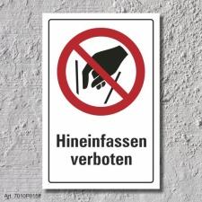 """Verbotsschild """"Hineinfassen verboten"""", DIN ISO..."""