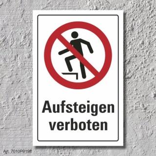 """Verbotsschild """"Aufsteigen verboten"""", DIN ISO 7010, 3 mm Alu-Verbund"""
