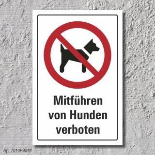 """Verbotsschild """"Hunde mitführen verboten"""", DIN ISO 7010, 3 mm Alu-Verbund"""