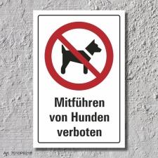"""Verbotsschild """"Hunde mitführen verboten"""",..."""