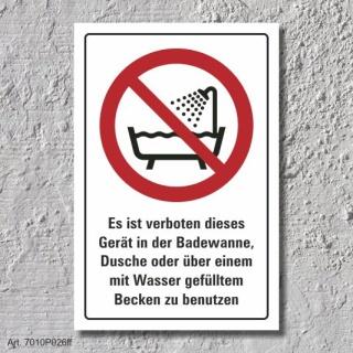 """Verbotsschild """"Badewanne, Dusche, Becken"""", DIN ISO 7010, 3 mm Alu-Verbund"""