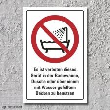 """Verbotsschild """"Badewanne, Dusche, Becken"""", DIN..."""