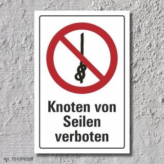 """Verbotsschild """"Knoten von Seilen verboten"""", DIN ISO 7010, 3 mm Alu-Verbund"""