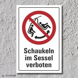 """Verbotsschild """"Schaukeln im Sessel verboten"""", DIN ISO 7010, 3 mm Alu-Verbund"""