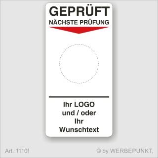 "Grundetikett ""Geprüft"", 45 x 90 mm, BGR, UVV, BGV, Wartung, Text, Logo"