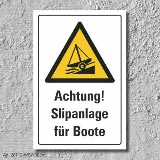 """Warnschild """"Slipanlage, Boote"""", DIN ISO 20712, 3 mm Alu-Verbund"""