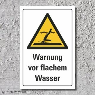 """Warnschild """"Warnung vor flachem Wasser"""", DIN ISO 20712, 3 mm Alu-Verbund"""