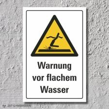 """Warnschild """"Warnung vor flachem Wasser"""", DIN..."""
