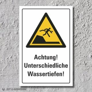 """Warnschild """"Unterschiedliche Wassertiefen"""", DIN ISO 20712, 3 mm Alu-Verbund"""