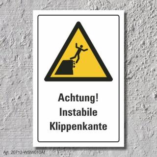 "Warnschild ""Instabile Klippenkante"", DIN ISO 20712, 3 mm Alu-Verbund"