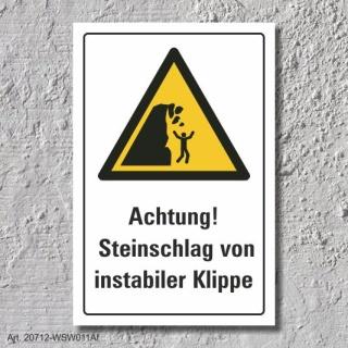 """Warnschild """"Steinschlag, instabile Klippe"""", DIN ISO 20712, 3 mm Alu-Verbund"""