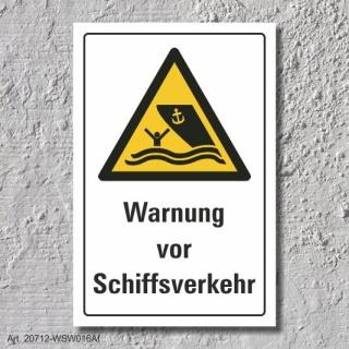 """Warnschild """"Warnung vor Schiffsverkehr"""", DIN ISO 20712, 3 mm Alu-Verbund"""