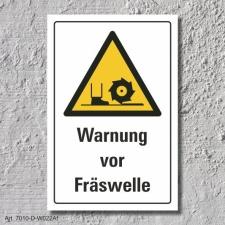 """Warnschild """"Fräswelle"""", DIN ISO 7010, 3 mm..."""