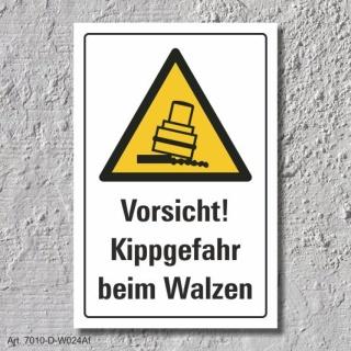 """Warnschild """"Kippgefahr beim walzen"""", DIN ISO 7010, 3 mm Alu-Verbund"""