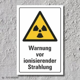 """Warnschild """"Ionisierende Strahlung"""", DIN ISO 7010, 3 mm Alu-Verbund"""