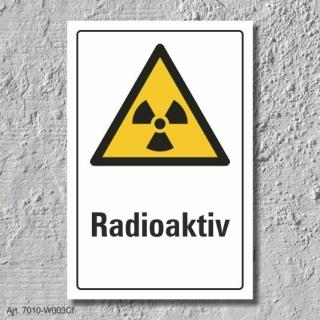 """Warnschild """"Radioaktiv"""", DIN ISO 7010, 3 mm Alu-Verbund"""