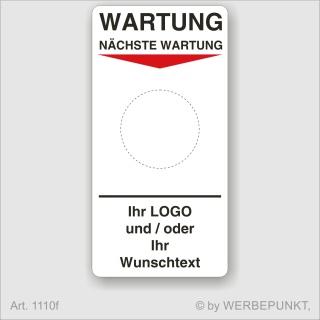 """Grundetikett """"Wartung"""", 45 x 90 mm, BGR, UVV, BGV, Wartung, Text, Logo"""