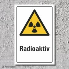 "Warnschild ""Radioaktiv"", DIN ISO 7010, 3 mm..."