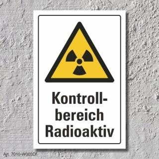 """Warnschild """"Kontrollbereich radioaktiv"""", DIN ISO 7010, 3 mm Alu-Verbund"""