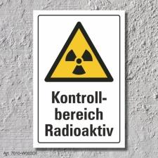 """Warnschild """"Kontrollbereich radioaktiv"""", DIN..."""