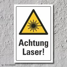 """Warnschild """"Achtung Laser"""", DIN ISO 7010, 3 mm..."""