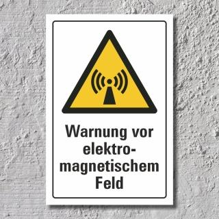"""Warnschild """"Elektromagnetisches Feld"""", DIN ISO 7010, 3 mm Alu-Verbund"""