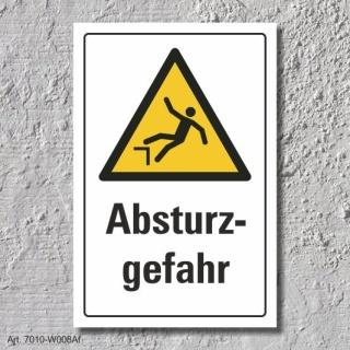 """Warnschild """"Absturzgefahr"""", DIN ISO 7010, 3 mm Alu-Verbund"""