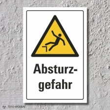 """Warnschild """"Absturzgefahr"""", DIN ISO 7010, 3 mm..."""