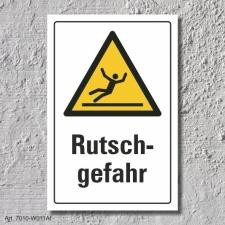 """Warnschild """"Rutschgefahr"""", DIN ISO 7010, 3 mm..."""