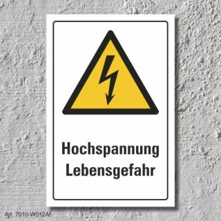 """Warnschild """"Hochspannung"""", DIN ISO 7010, 3 mm Alu-Verbund"""
