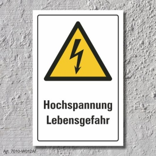 """Warnschild """"Hochspannung"""", DIN ISO 7010, 3 mm Alu-Verbund  300 x 200 mm"""