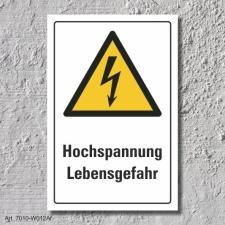 """Warnschild """"Hochspannung"""", DIN ISO 7010, 3 mm..."""