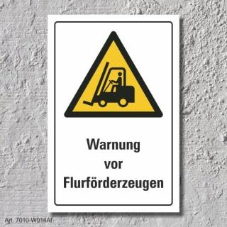 """Warnschild """"Flurförderzeuge"""", DIN ISO 7010, 3 mm Alu-Verbund"""