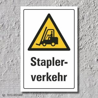"""Warnschild """"Staplerverkehr"""", DIN ISO 7010, 3 mm Alu-Verbund"""