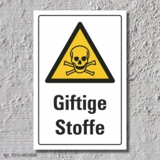 "Warnschild ""Giftige Stoffe"", DIN ISO 7010, 3 mm..."