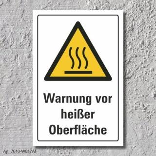 """Warnschild """"Warnung vor heißer Oberfläche"""", DIN ISO 7010, 3 mm Alu-Verbund"""