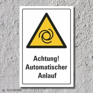 """Warnschild """"Achtung! Automatischer Anlauf"""", DIN ISO 7010, 3 mm Alu-Verbund"""