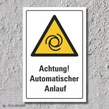 """Warnschild """"Achtung! Automatischer Anlauf"""", DIN..."""