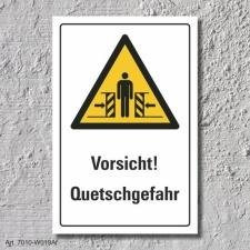 """Warnschild """"Vorsicht! Quetschgefahr"""", DIN ISO..."""