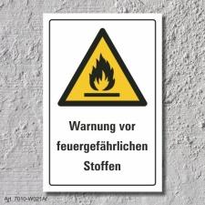 """Warnschild """"Feuergefährliche Stoffe"""", DIN..."""