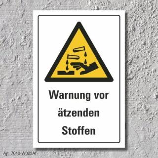 """Warnschild """"Ätzende Stoffe"""", DIN ISO 7010, 3 mm Alu-Verbund"""
