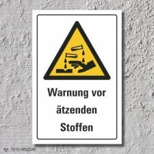 """Warnschild """"Ätzende Stoffe"""", DIN ISO 7010,..."""