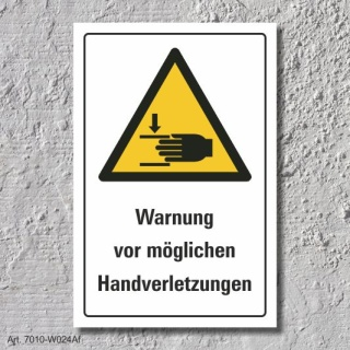 """Warnschild """"Mögliche Handverletzungen"""", DIN ISO 7010, 3 mm Alu-Verbund"""