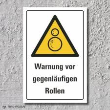 """Warnschild """"Gegenläufige Rollen"""", DIN ISO..."""