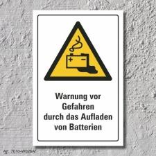 """Warnschild """"Gefahr durch aufladen von..."""