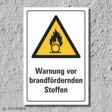 """Warnschild """"Brandfördernde Stoffe"""", DIN..."""
